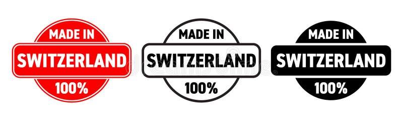 Gemacht in die Schweiz-Vektorder ikone Schweizer gemachter Qualitätsproduktaufkleber, 100-Prozent-Paketstempel lizenzfreie abbildung