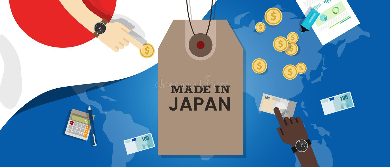 Gemacht im Japan-Stempelpreis tg-Flaggenweltkartegeschäfts-Exportgeld stock abbildung