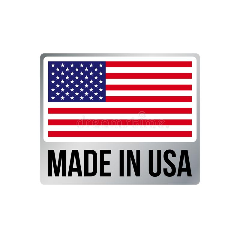 Gemacht in Rahmenikonen-Vektor amerikanischer Flagge USA silberner stock abbildung