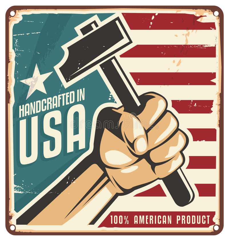 Gemacht in Retro- Metallschild USA lizenzfreie abbildung