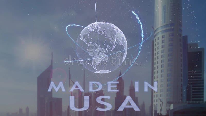 Gemacht in USA simsen Sie mit Hologramm 3d der Planet Erde gegen den Hintergrund der modernen Metropole lizenzfreie abbildung