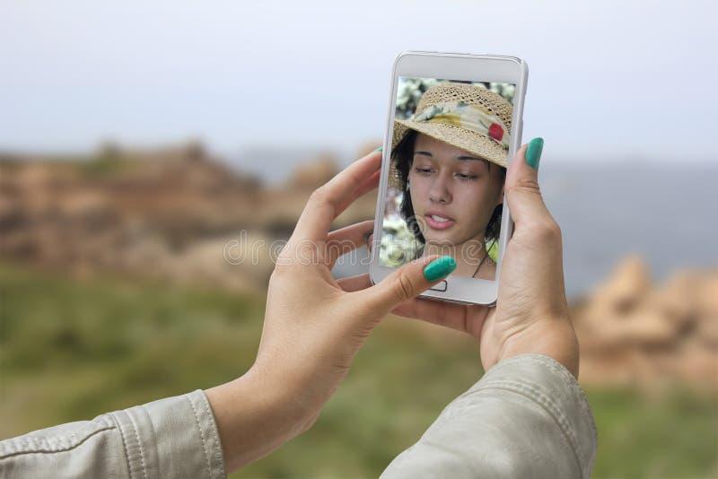 Gemachte Fotos ihrem Selbst stockbilder
