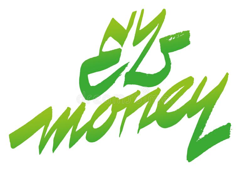 Gemakkelijk geldmotto Het vector van letters voorzien stock illustratie