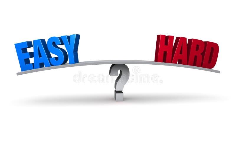 Gemakkelijk of Hard? stock illustratie
