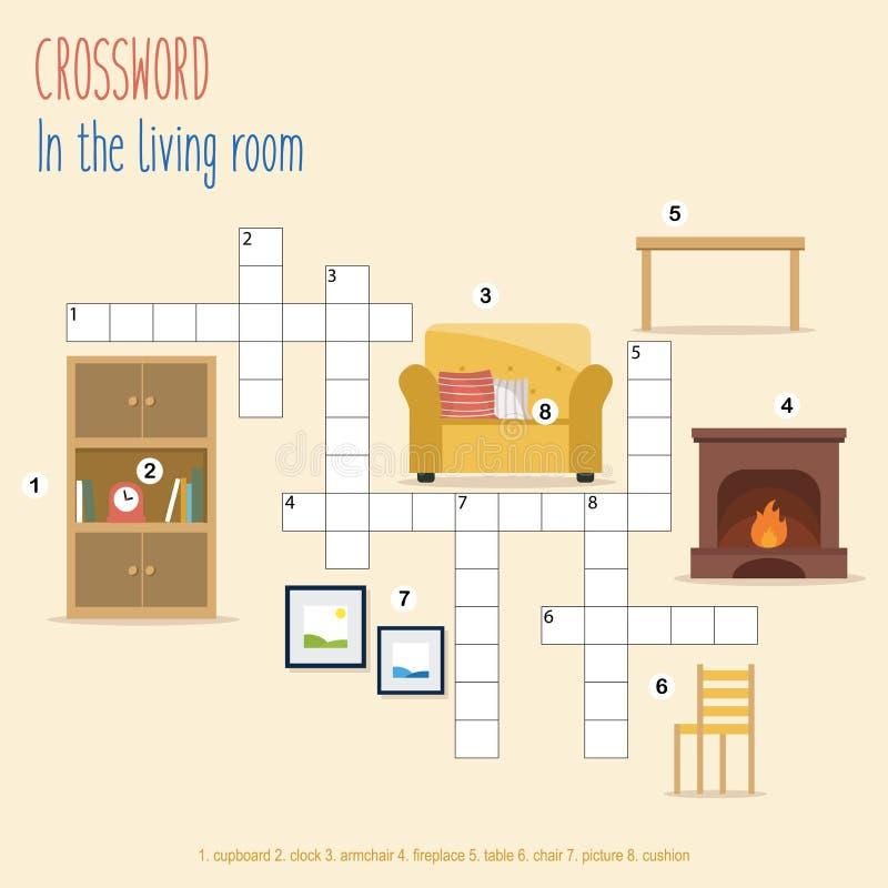 Gemakkelijk kruiswoordpuzzel 'In de woonkamer' vector illustratie
