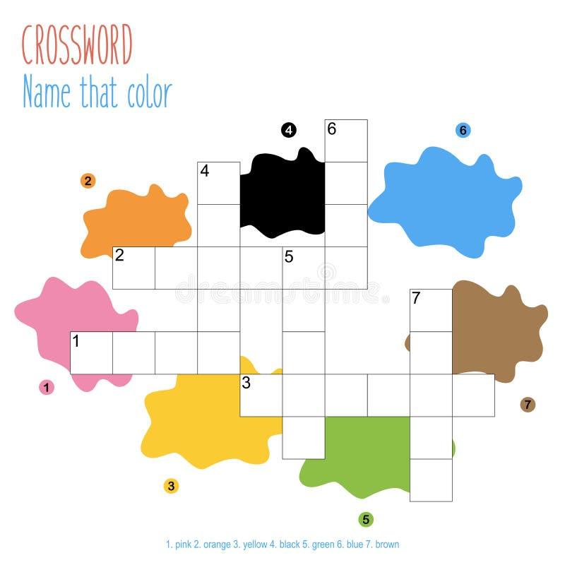 Gemakkelijk kruiswoordraadsel 'Naam die kleur' royalty-vrije stock afbeelding