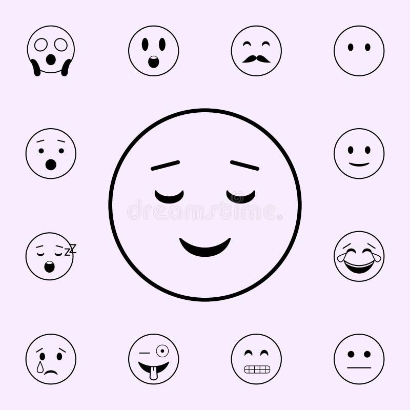 gemakkelijk prettig glimlachpictogram Voor Web wordt geplaatst dat en het mobiele algemene begrip van Emojipictogrammen royalty-vrije illustratie