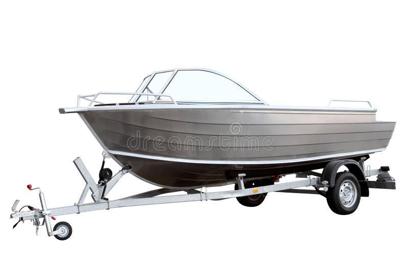 Gemakkelijke die boot op de aanhangwagen wordt geladen stock fotografie