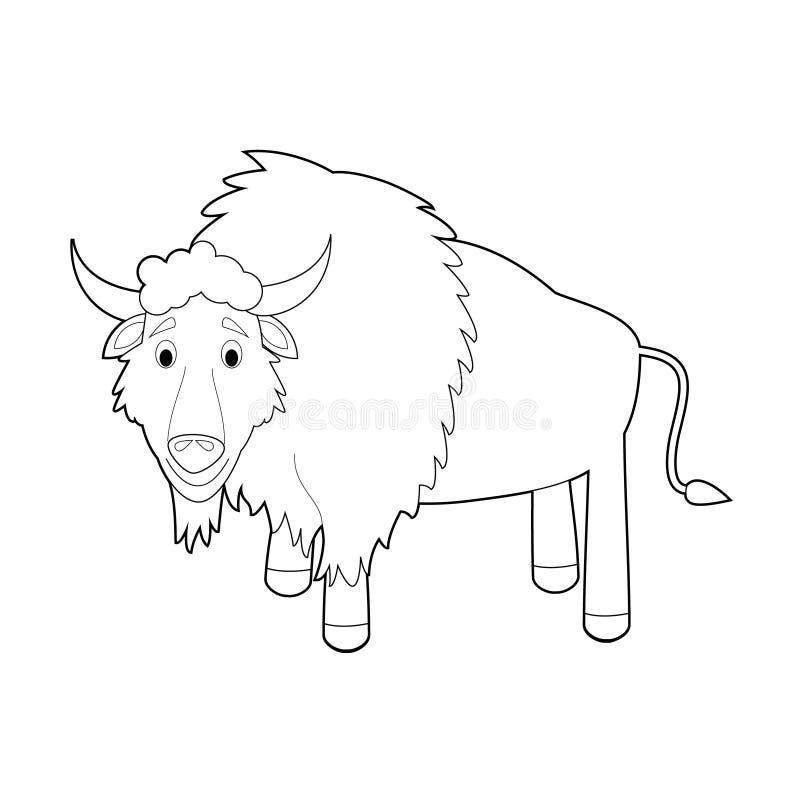 Gemakkelijke het Kleuren Dieren voor Jonge geitjes: Buffels stock illustratie
