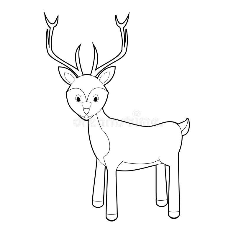 Gemakkelijke het Kleuren Dieren voor Jonge geitjes: Herten royalty-vrije illustratie
