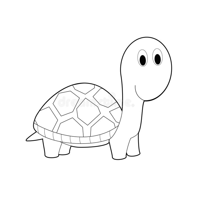 Gemakkelijke het Kleuren Dieren voor Jonge geitjes: Schildpad stock illustratie