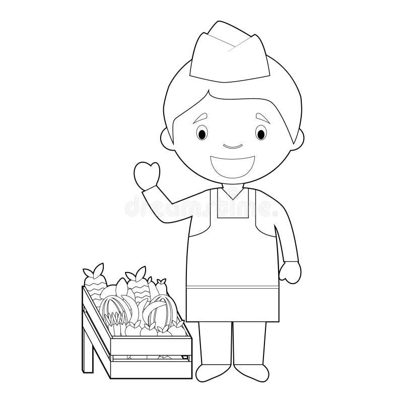Gemakkelijke kleurende beeldverhaal vectorillustratie van een fruitverkoper stock illustratie