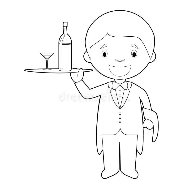 Gemakkelijke kleurende beeldverhaal vectorillustratie van een kelner royalty-vrije illustratie