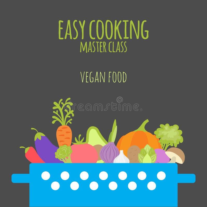Gemakkelijke kokende hoofdklasse Braadpan met groenten op donkere bac stock illustratie