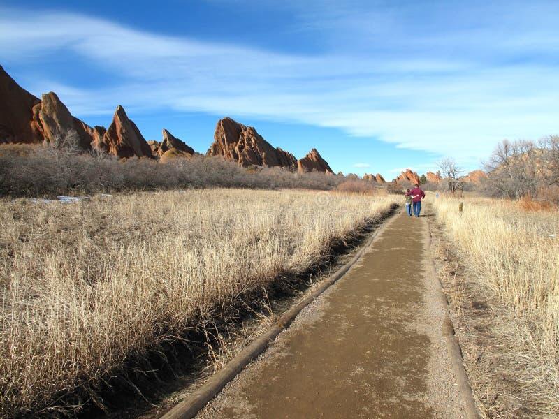 Gemakkelijke wandelingssleep in de Rotsachtige Bergen van Colorado stock foto's