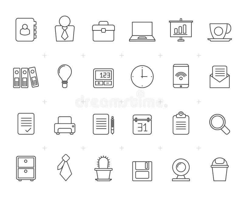 Gemalt mit Linien Geschäft und Büroikonen lizenzfreie abbildung