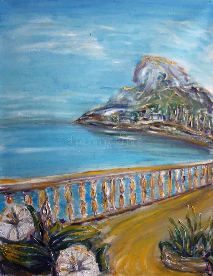 Gemalte Ansicht des Meeres, felsiger Berg mit elegantem Zaun stock abbildung