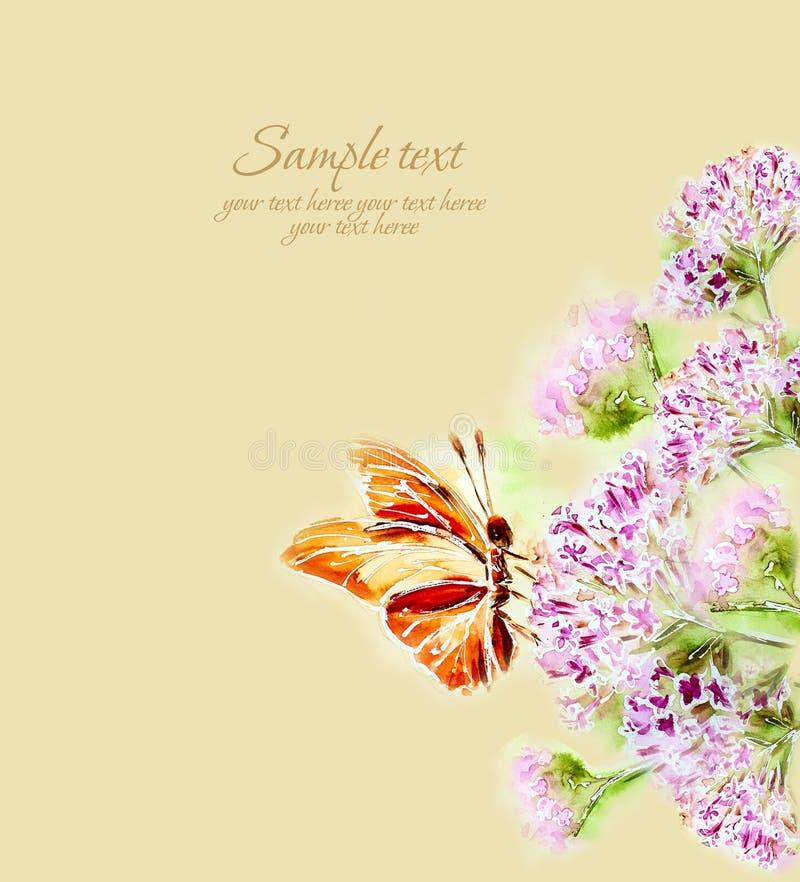 Gemalte Aquarellkarte mit Blumen und Schmetterling stock abbildung