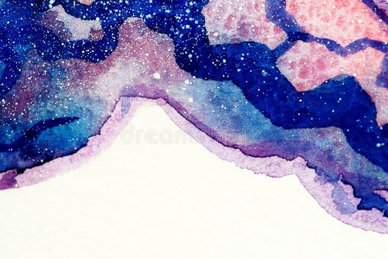 Gemalte Berge, Aquarellwolken stockfotografie