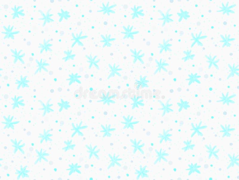 Gemalte blaue Schneeflocken mit Punkten lizenzfreie abbildung
