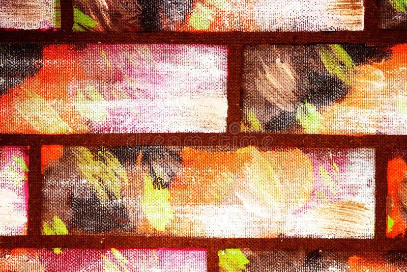 Gemalte dekorative mehrfarbige Ziegelsteine der Wandnachahmung Handgemachte Graffiti extrahieren hellen Hintergrund f?r Entwurf lizenzfreie stockfotos