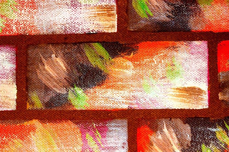 Gemalte dekorative mehrfarbige Ziegelsteine der Wandnachahmung Handgemachter abstrakter heller Hintergrund für Entwurf lizenzfreies stockfoto