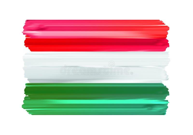 Gemalte Flagge Bürste Ungarns bunte Anschläge stock abbildung