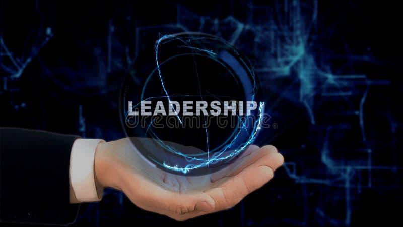 Gemalte Hand zeigt Konzepthologramm Führung auf seiner Hand lizenzfreies stockbild
