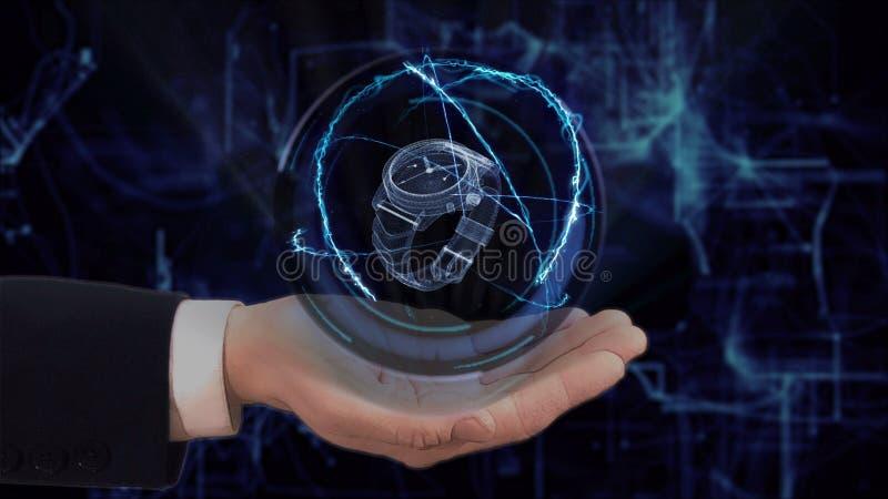 Gemalte Hand zeigt Uhr des Konzepthologramms 3d auf seiner Hand stockbilder