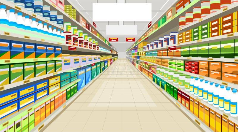Gemalte Handelsvoraussetzungen im Speicher mit Gestellen mit Waren lizenzfreie abbildung