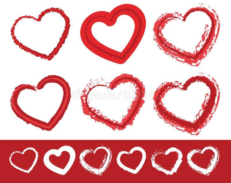 Gemalte Herzformen Satz von 6 verschiedenen grungy Tiefenlinien von vektor abbildung