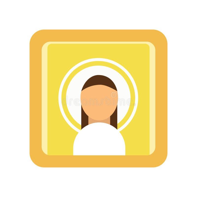 Gemalte Ikone des Heiligmannes Religiöses Kunstwerk Männliches Schattenbild, christlicher Symbolismus Religionstraditionen von or lizenzfreie abbildung