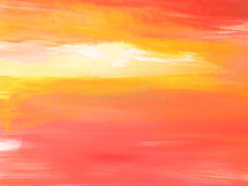 Gemalte Landschaft/abstrakter Himmel-Sonnenuntergang lizenzfreie stockfotos