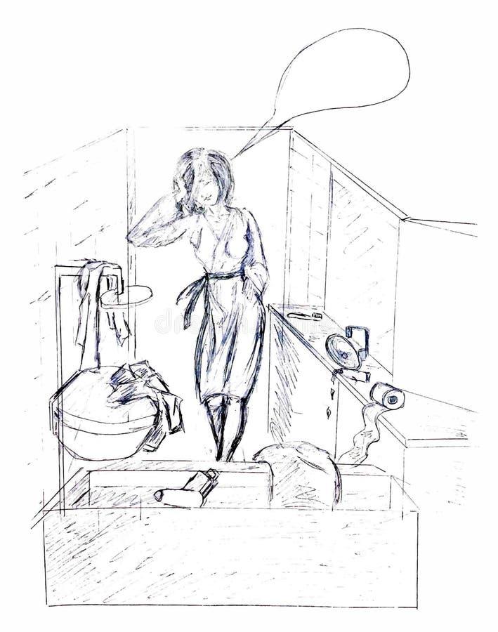 Gemalte Mädchenhausfrau für Hausarbeiten Das Bild auf einem weißen Hintergrund lizenzfreie stockbilder