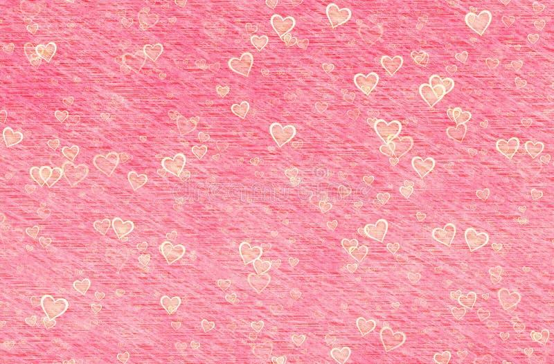 Gemalte rote Herzen auf Retro- Papierhintergründen stockfotografie