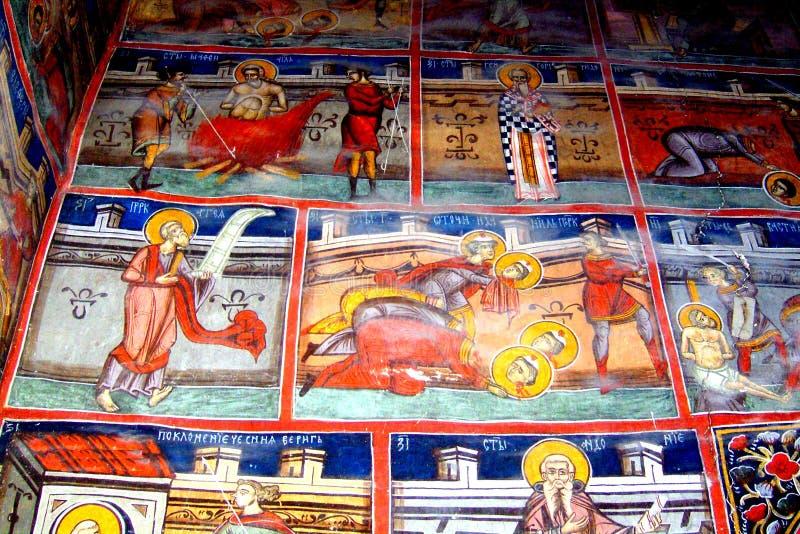Gemalte Wände in Moldovita-Kloster, Moldavien, Rumänien lizenzfreie stockfotografie