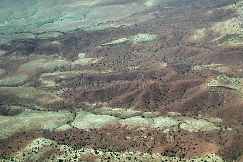 Gemalte Wüste in Arizona, USA gesehen vom Flugzeug stockfoto
