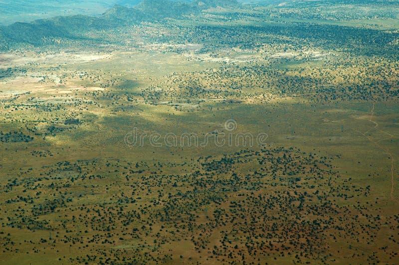 Gemalte Wüste in Arizona, USA gesehen vom Flugzeug lizenzfreies stockfoto