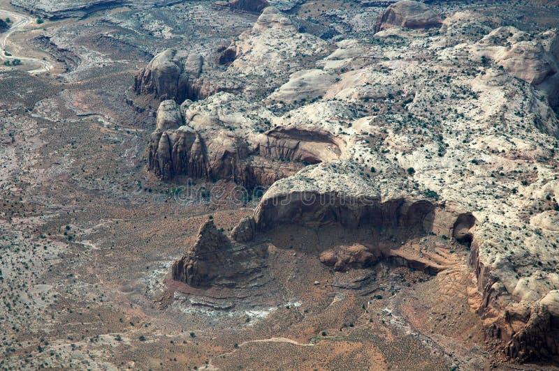 Gemalte Wüste in Arizona, USA gesehen vom Flugzeug lizenzfreie stockfotos