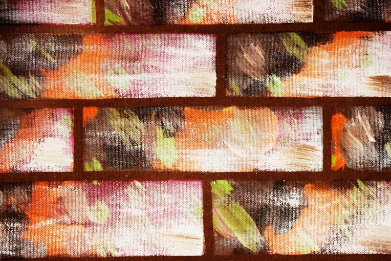 Gemalte Wand im Stil der dekorativen farbigen Ziegelsteine Abstrakter bunter Hintergrund f?r Auslegung lizenzfreies stockbild