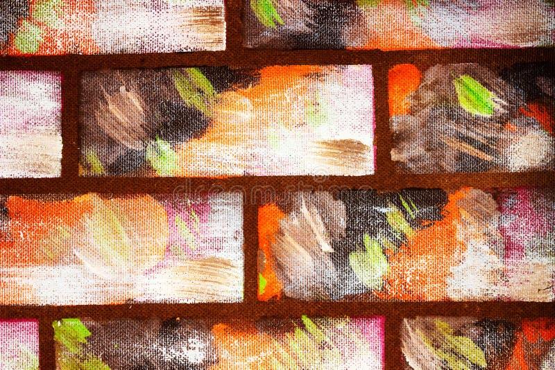 Gemalte Wand im Stil der dekorativen farbigen Ziegelsteine Abstrakter bunter Hintergrund f?r Auslegung lizenzfreies stockfoto