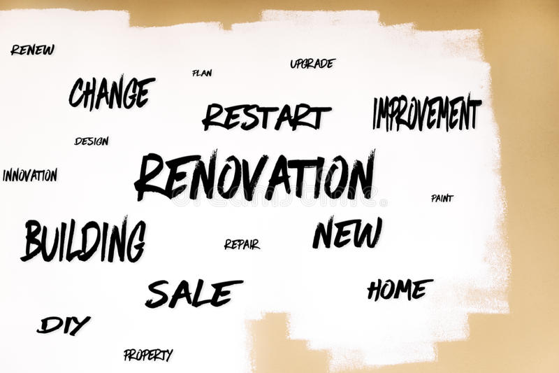 Gemalte Wand mit vielen Wörtern, Konzept Erneuerung, Improvemen lizenzfreie stockbilder