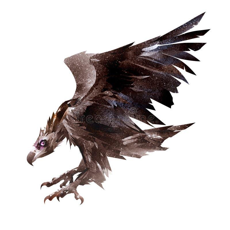 Gemalter Fliegenvogel, der Geier, die Reinigerseite vektor abbildung