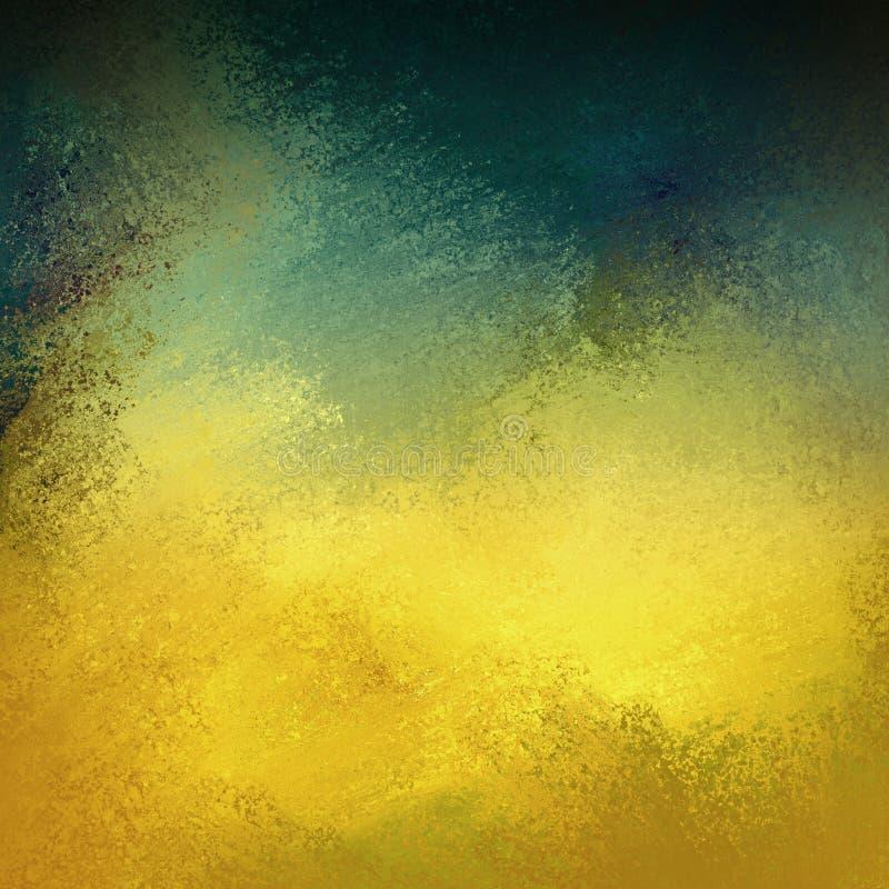 Gemalter Hintergrund dem Goldim blauen Grün und -BRAUN mit unordentlicher abgewaschener Schmutzbeschaffenheit lizenzfreie abbildung