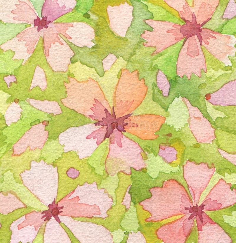 Gemalter Hintergrund des Aquarells Blume lizenzfreie stockfotografie