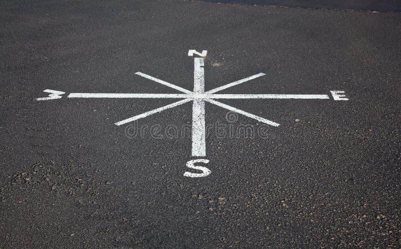 Gemalter Kompaß auf Straßendecke lizenzfreies stockbild