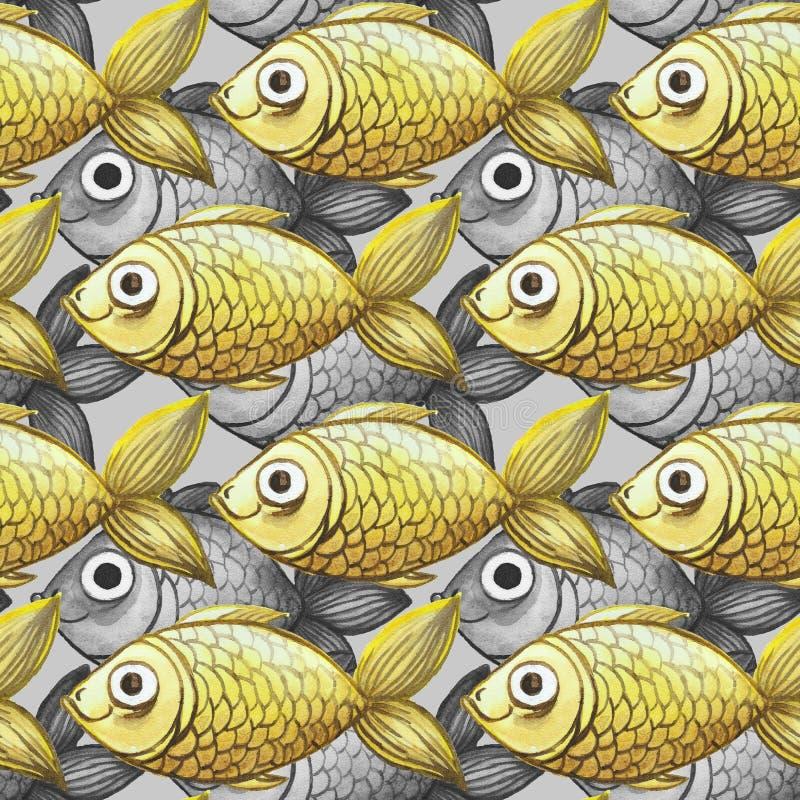 Gemalter nahtloser Hintergrund des Aquarells, fischen Schwarzweiss mit gelben Fischen, großes Muster lizenzfreie abbildung