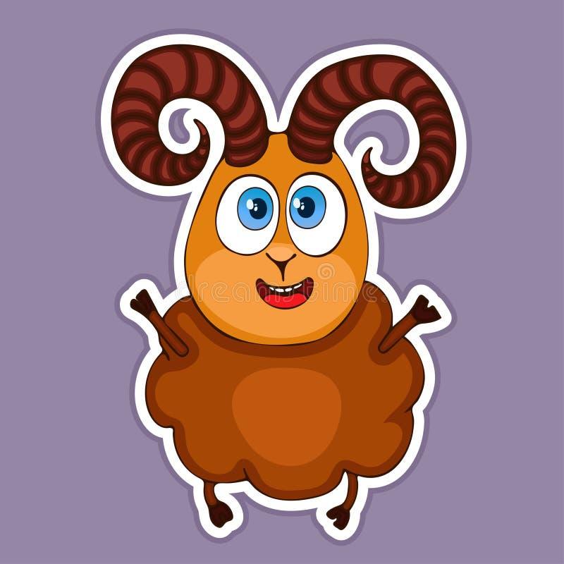 Gemalter netter lustiger lächelnder brauner RAM-Aufkleber, Gestaltungselement, Druck, bunte Handzeichnung, Zeichentrickfilm-Figur lizenzfreie abbildung