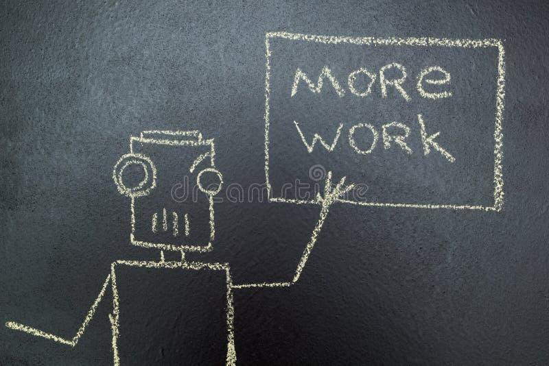 Gemalter Roboter mit einer Aufschrift in der Kreide auf einer Tafel lizenzfreie abbildung