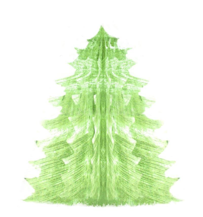 Gemalter Weihnachtsbaum lokalisiert auf weiße Hintergründe Abstrakter Baum des neuen Jahres Abbildung für Ihre Auslegung stock abbildung